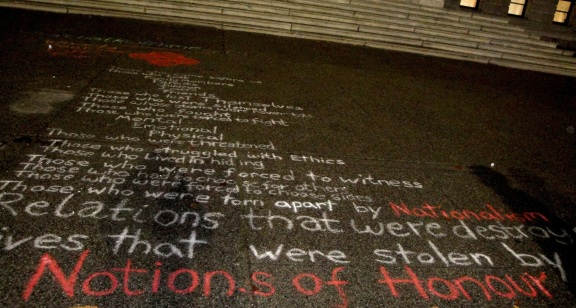 Poem in chalk outside the Vancouver Art Gallery