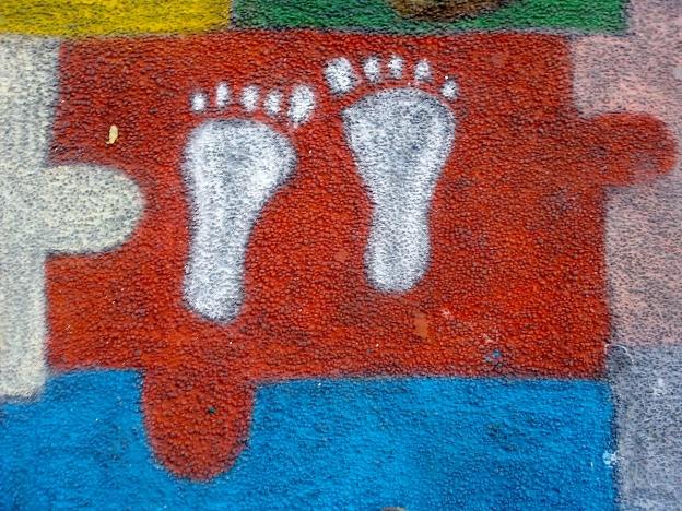 Footprints in chalk